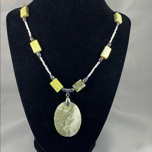 Green earth jasper pendant w/ glass & stone accent